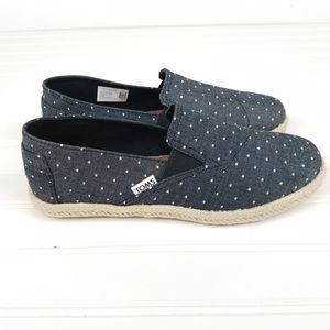 Toms Black Chambray Dot Espadrille Shoes 10